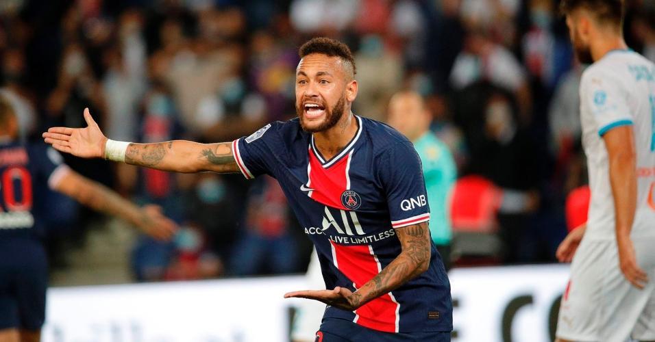 Neymar foi expulso na estreia do PSG contra o Olympique de Marselha pelo Campeonato Francês 2020/21