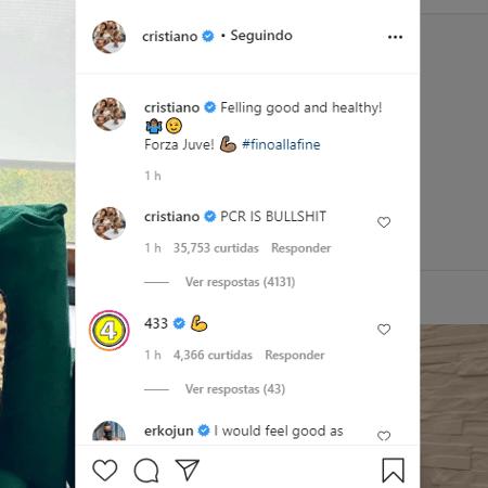 Cristiano Ronaldo menosprezou teste PCR nos comentários de post - Reprodução/Instagram