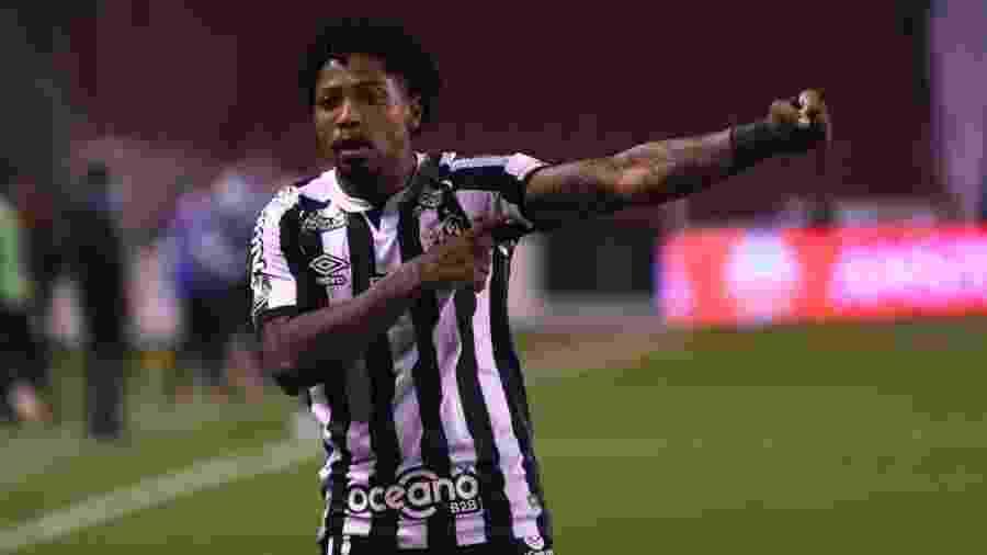 Marinho comemora seu gol na vitória do Santos contra a LDU na Libertadores - Staff Images/CONMEBOL