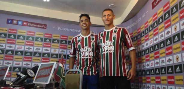 Felipe Amorim e Richarlison foram apresentados oficialmente nesta segunda no Flu