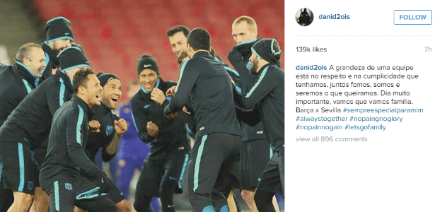 Daniel Alves fez publicação exaltando o companheirismo do Barça