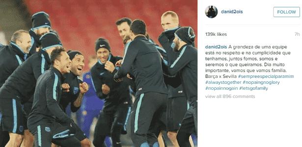 Daniel Alves fez publicação exaltando o companheirismo do Barça - Reprodução/Instagram