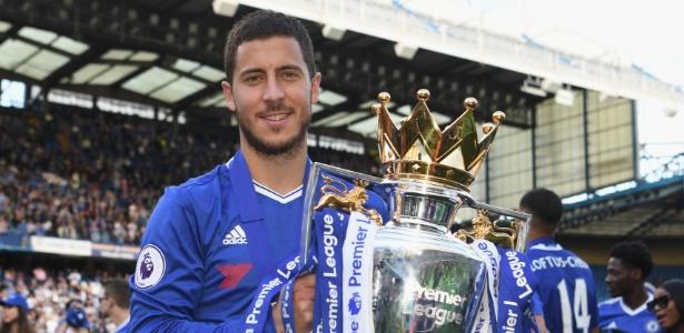 Hazard foi campeão inglês com o Chelsea e agora está na mira do Real Madrid