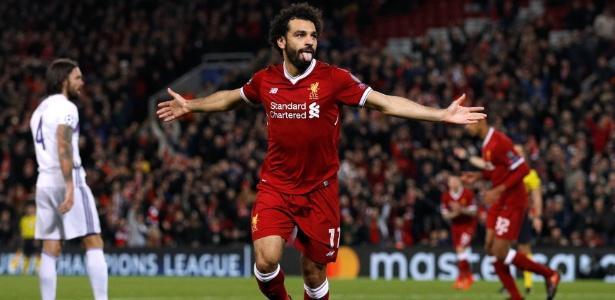 Salah comemora o gol que abriu o placar para o Liverpool em Anfield