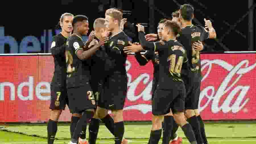 Ansu Fati comemora gol do Barcelona sobre o Celta  - REUTERS/Miguel Vidal