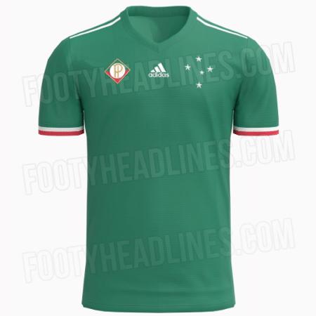 Suposta nova camisa 3 do Cruzeiro é verde, uma homenagem às origens do clube, que se chamava Palestra Itália até 1942 - Reprodução/FootyHeadlines.com