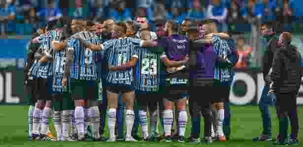 Time gaúcho acertou as cinco cobranças contra o Estudiantes e avançou na Libertadores - Lucas Uebel/Grêmio