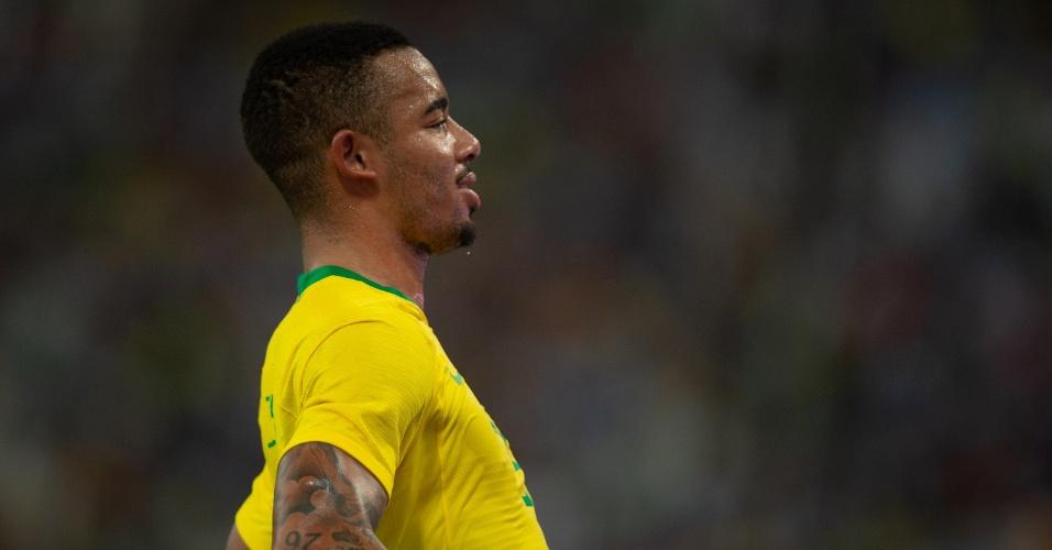 Gabriel Jesus, durante partida entre Brasil e Argentina