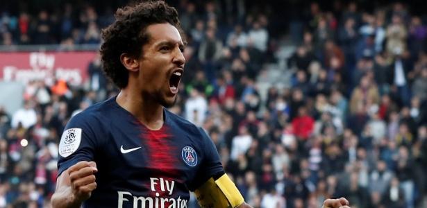 Capitão do PSG, Marquinhos comemora gol contra o Amiens - Reuters/Benoit Tessier