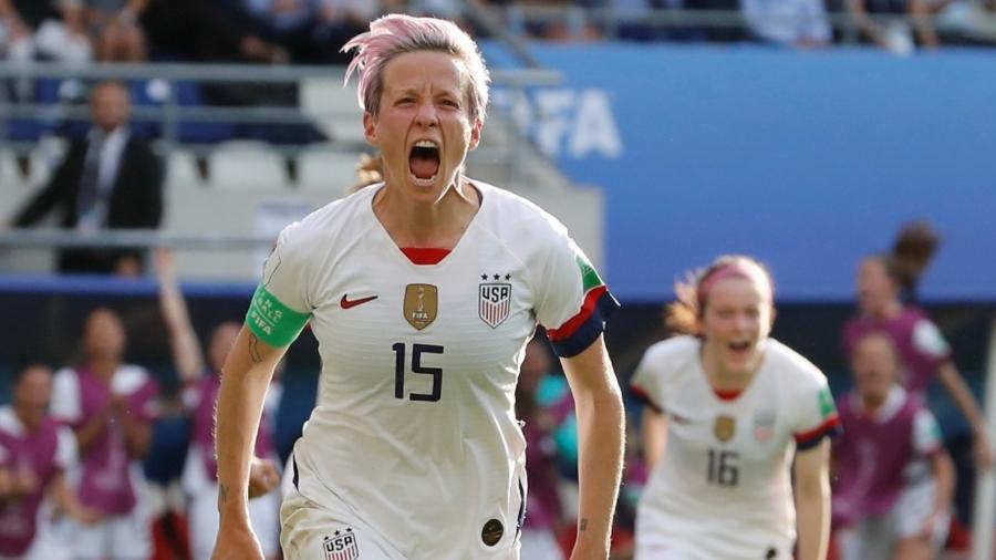 Rapinoe comemora gol marcado para os Estados Unidos sobre a Espanha - REUTERS/Bernadett Szabo