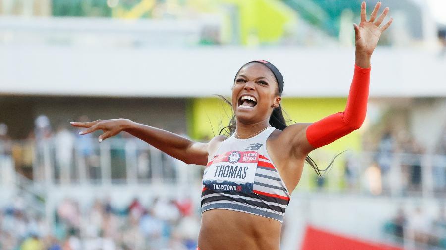 Gabby Thomas em ação durante as seletivas norte-americanas para as Olimpíadas de Tóquio - Steph Chambers/Getty Images North America/AFP