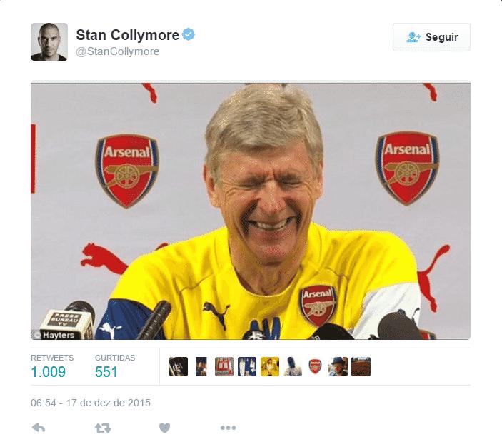 O ex-jogador Stan Collymore lembra da briga entre José Mourinho e Arsene Wenger, do Arsenal - os dois trocam farpas desde o início da temporada - Reprodução / Twitter