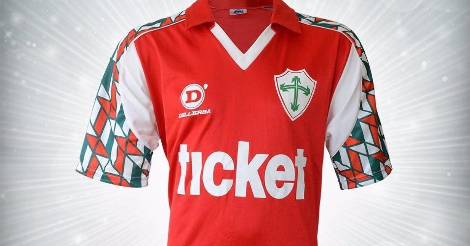 Camisa da Portuguesa de 1992 utilizada por Dener