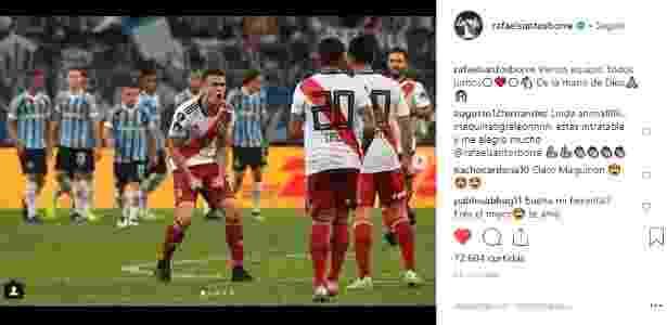 """Rafael Borré brinca sobre gol que fez sobre o Grêmio: """"Mão de Deus"""""""" - Reprodução/Instagram"""