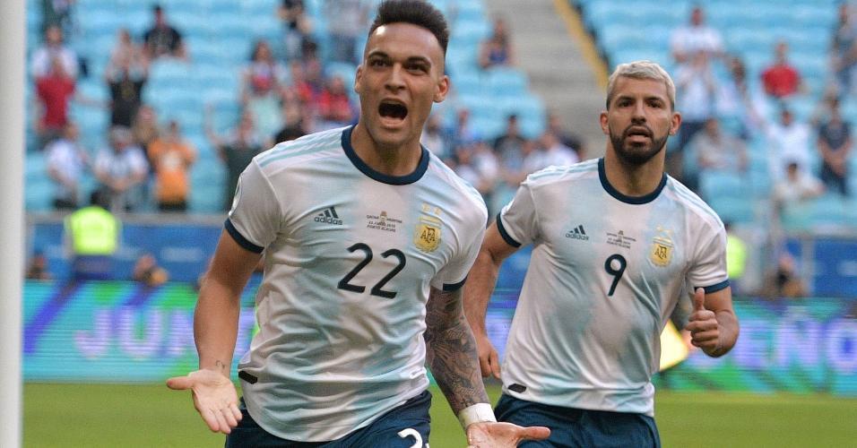 Lautaro Martinez comemora primeiro gol da Argentina