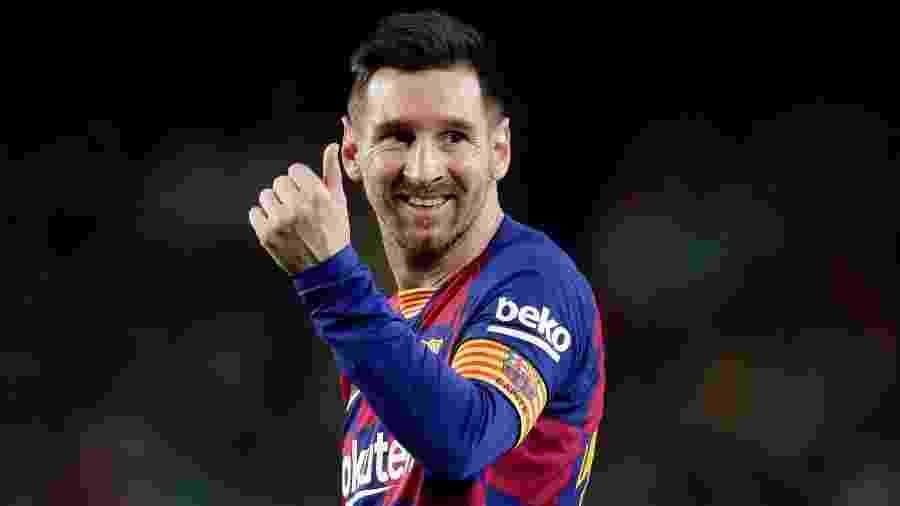 Lionel Messi comemora após marcar pelo Barcelona contra o Mallorca - David S. Bustamante/Soccrates/Getty Images