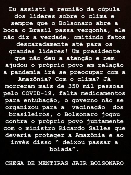 Casagrande critica discurso de Bolsonaro em Cúpula do Clima - Reprodução/Instagram