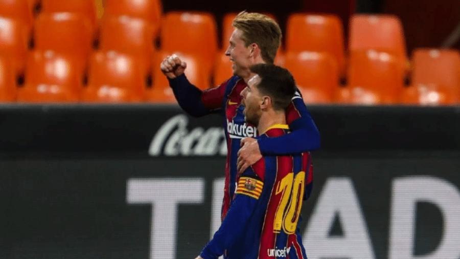 Messi e De Jong comemoram vitória do Barcelona sobre o Valencia - Reprodução/Instagram