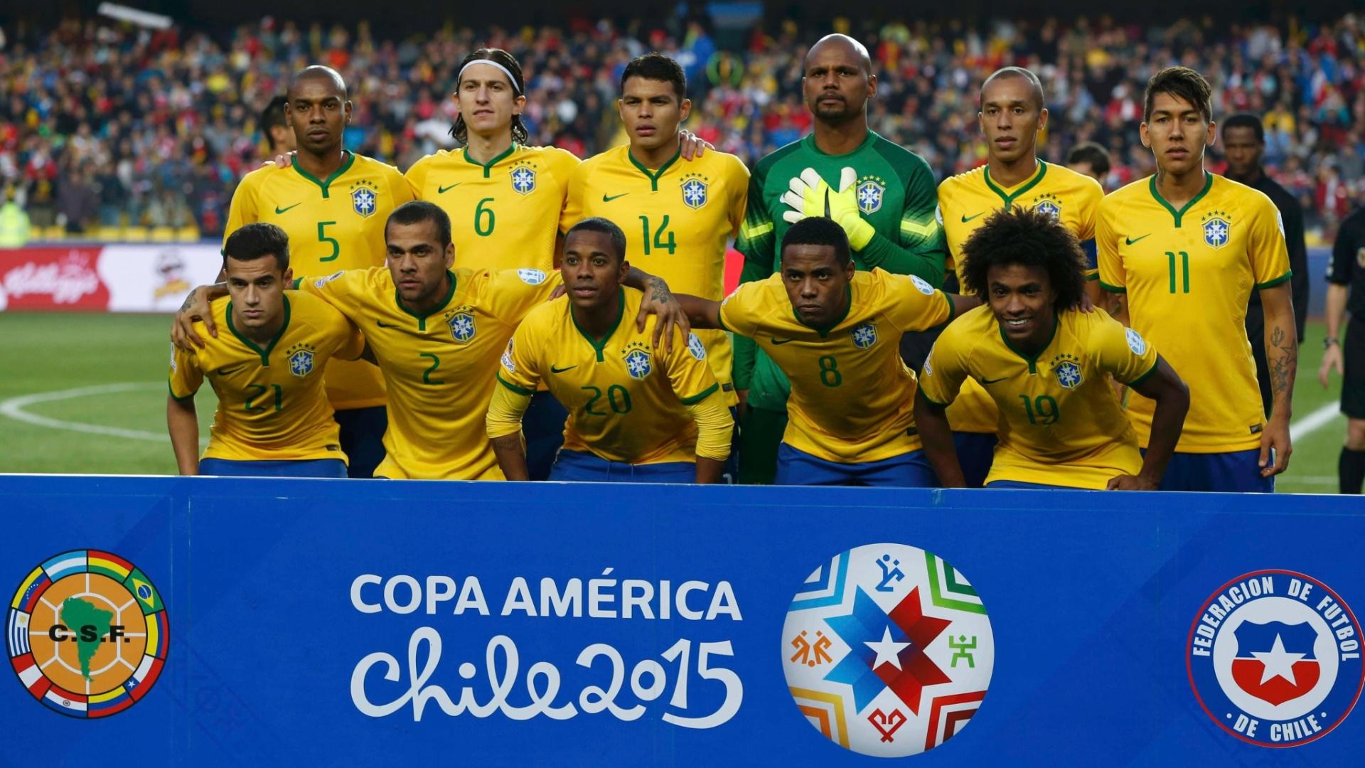 Jogadores do Brasil posam para foto antes do jogo das quartas de final da Copa América