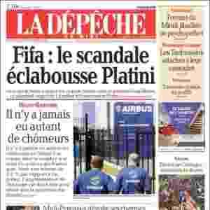 """La Dépêche du Midi (França): """"Fifa: o escândalo respinga em Platini"""" - Reprodução"""