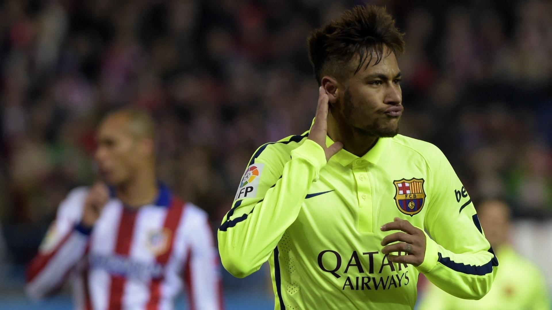 Neymar comemora gol marcado pelo Barcelona sobre o Atlético de Madri, em 2015