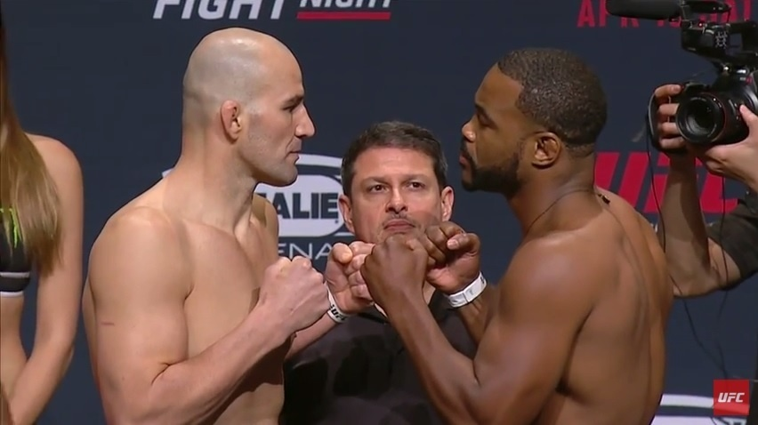 Glover Teixeira e Rashad Evans fazem encarada amistosa em pesagem do UFC Tampa