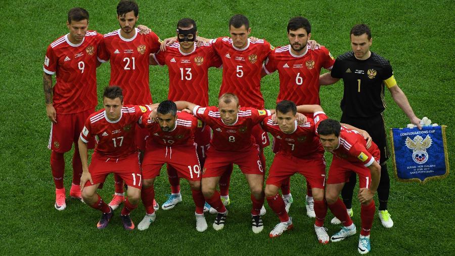Seleção russa durante a Copa das Confederações - Francois Xavier Moit/AFP