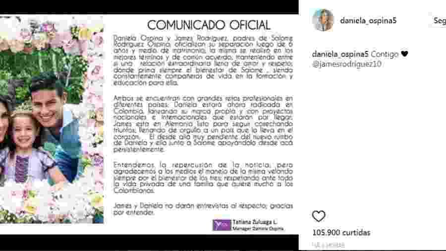 Daniela Ospina e James Rodriguez anunciam a separação  - Reprodução/Instagram