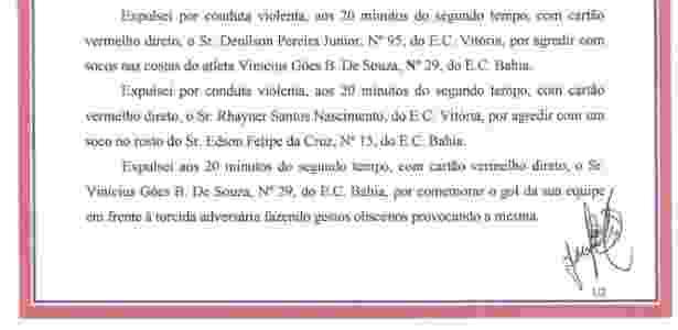 Súmula Vitória x Bahia 4 - Reprodução/Site oficial da FBF - Reprodução/Site oficial da FBF