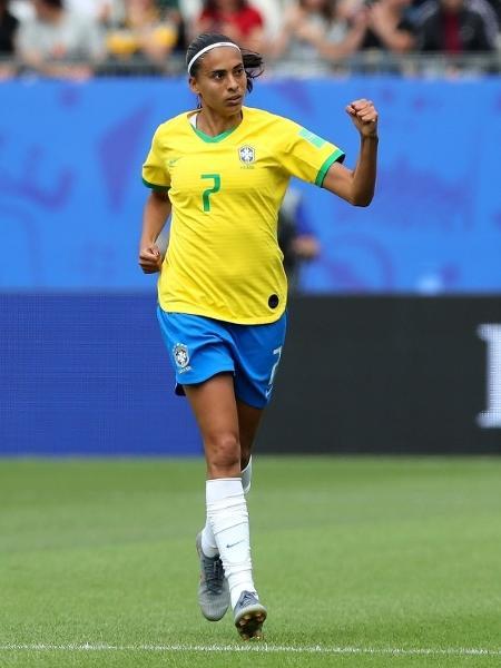 Andressa Alves, jogadora da seleção brasileira, em duelo contra a Jamaica pela Copa do Mundo  - Elsa/Getty Images