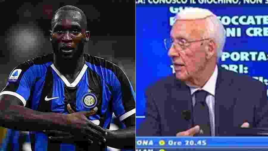 Romelu Lukaku foi alvo de um comentário racista feito pelo comentarista Luciano Passirani - Miguel Medina/AFP e Reprodução/Telelombardia - Montagem UOL