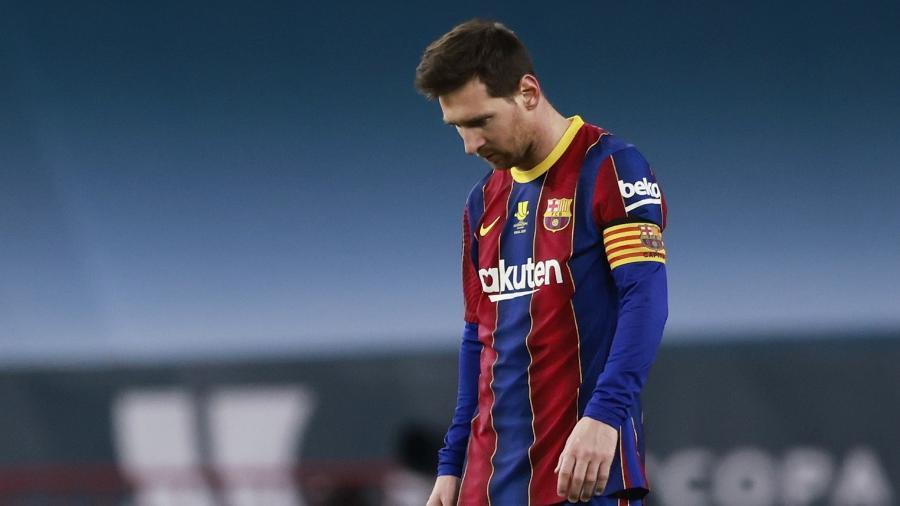 Lionel Messi foi expulso na final da Supercopa da Espanha, entre Barcelona e Athletic Bilbao - REUTERS/Marcelo Del Pozo