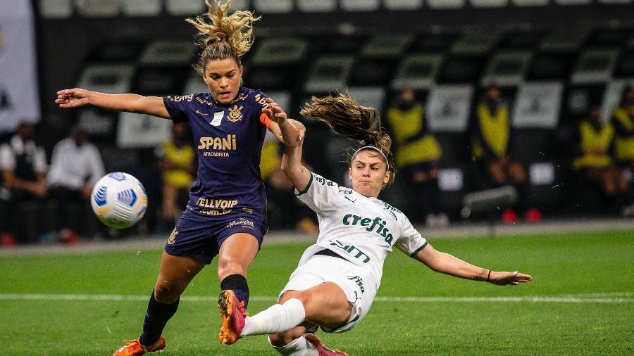 Tamires, do Corinthians, e Bruna Calderan, do Palmeiras, na decisão do Brasileirão feminino - Cristiane Mattos/CBF