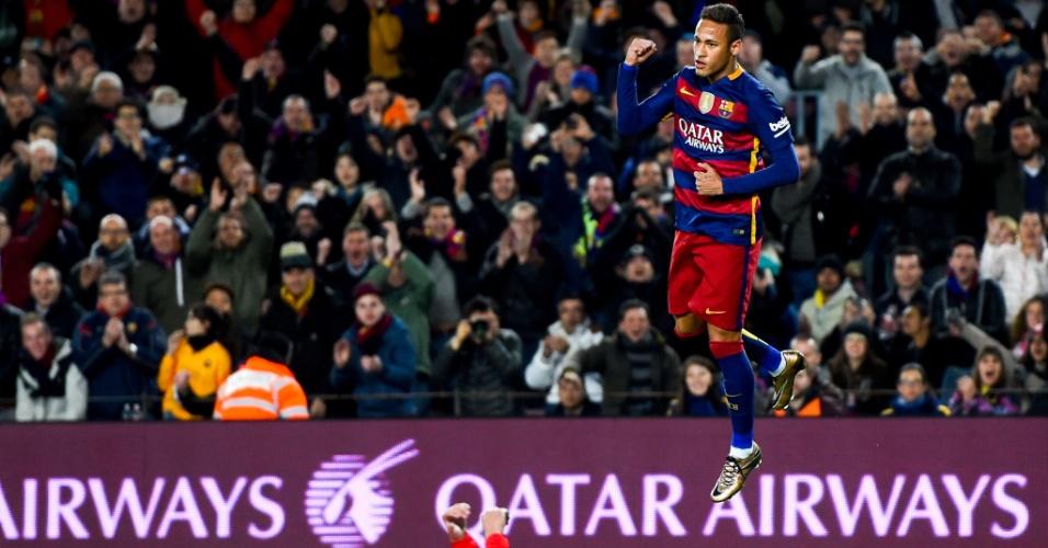 Neymar comemora gol para desespero de jogador do Athletic Bilbao