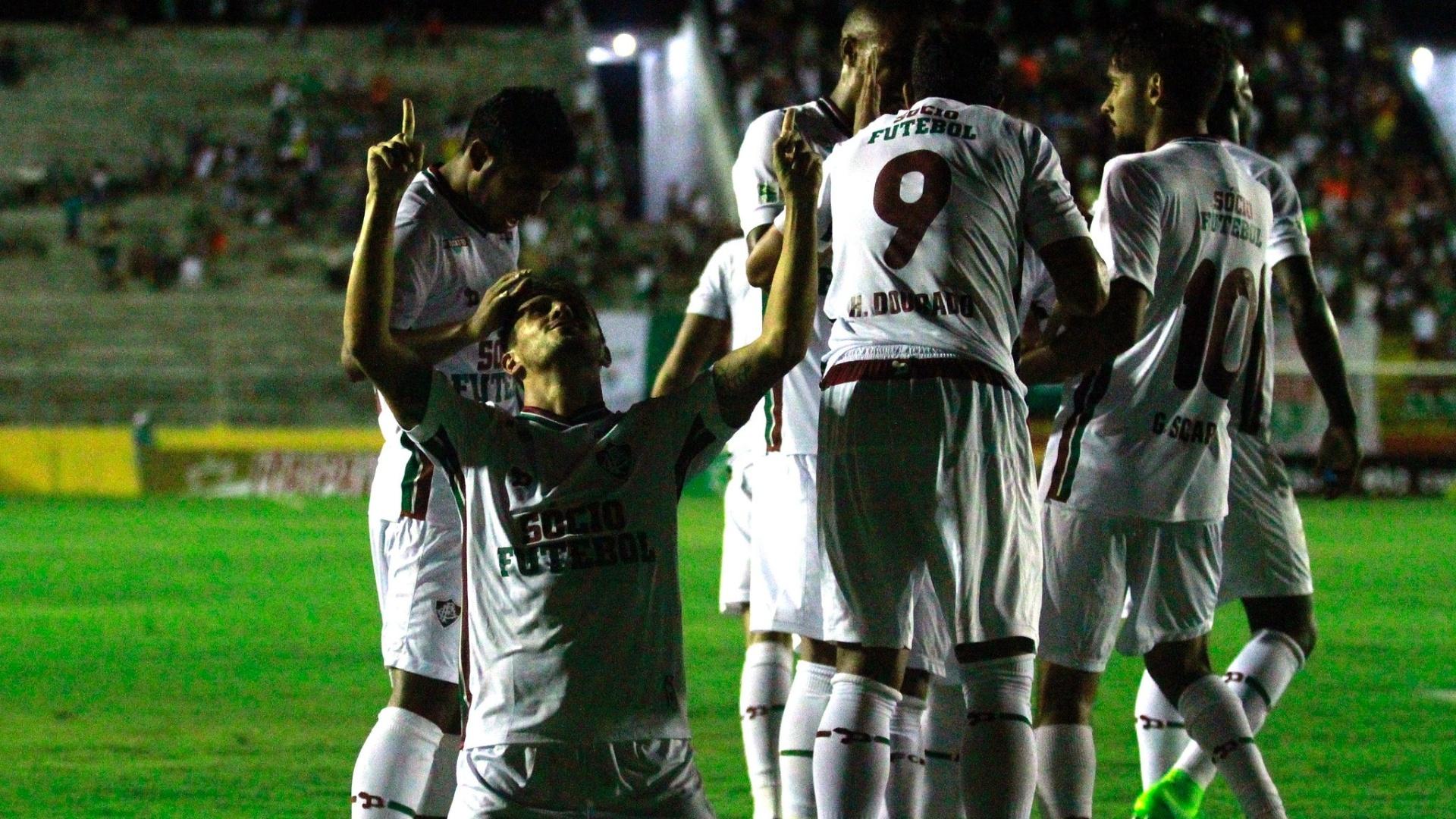 Lucas festeja ao marcar para o Fluminense contra o Globo-RN