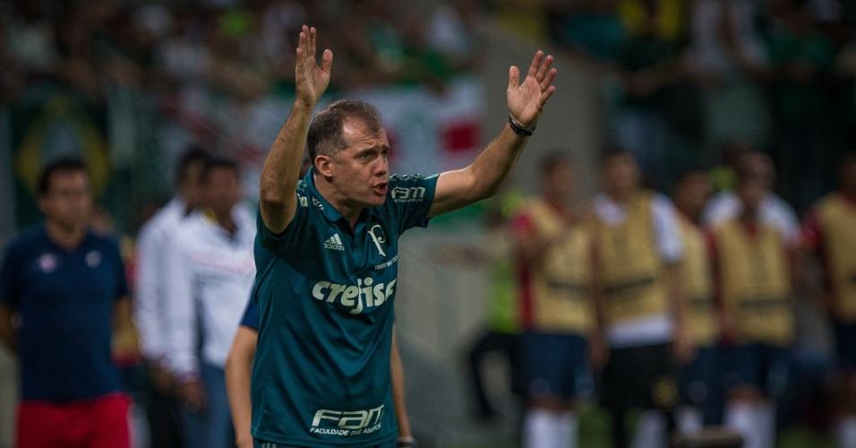O técnico Eduardo Baptista durante jogo do Palmeiras contra o Jorge Wilstermann, no Allianz Parque