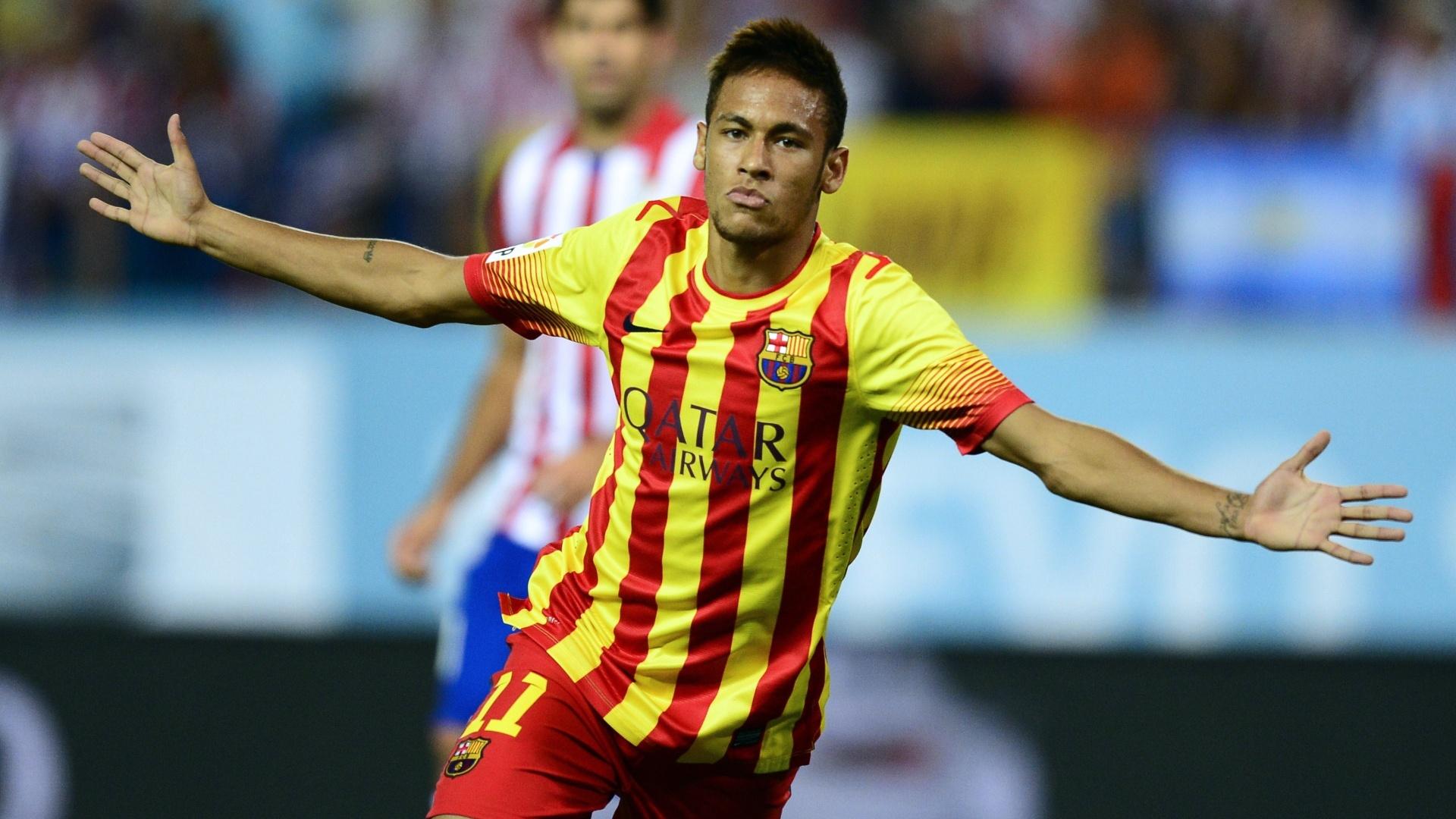 Neymar comemora após marcar pelo Barcelona contra o Atlético de Madri, em agosto de 2013