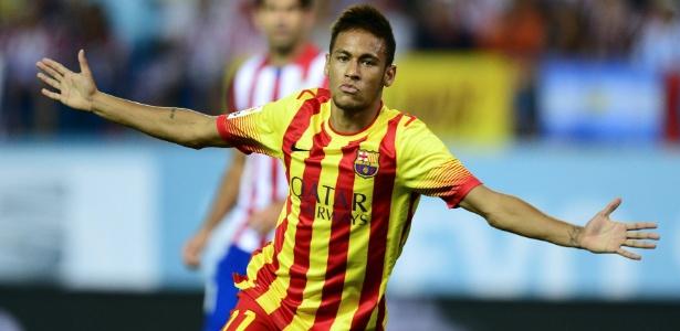 Neymar comemora após marcar pelo Barcelona contra o Atlético de Madrid em 2013