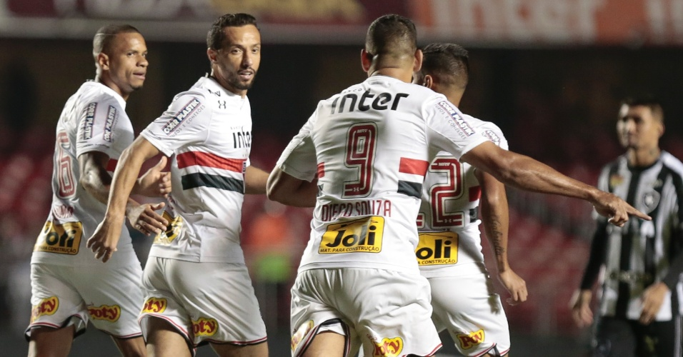 Nenê e Diego Souza marcaram para o São Paulo contra o Botafogo