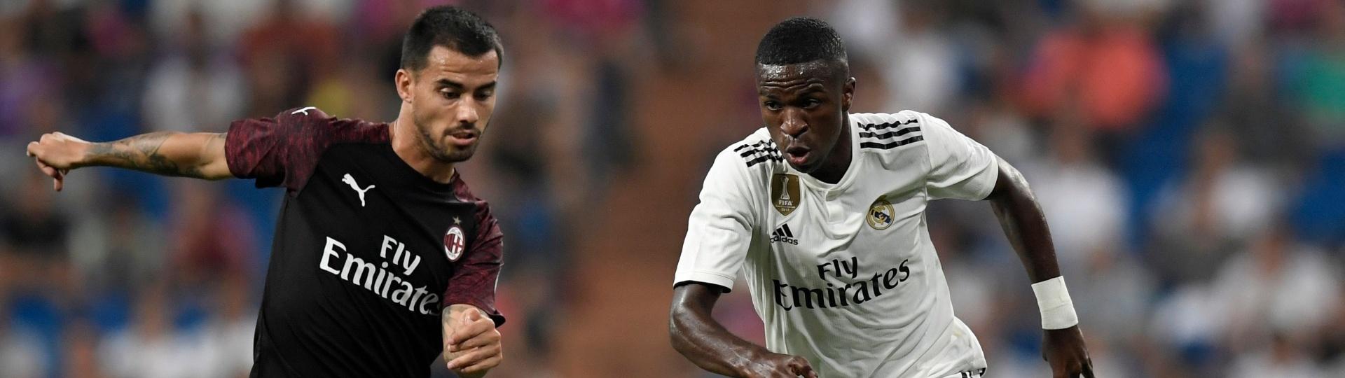 Vinicius Jr, durante partida entre Real Madrid e Milan