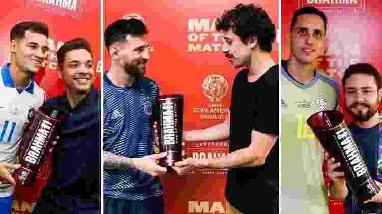 Coutinho recebe prêmio de Safadão (e); Messi recebe taça de Duda Garbi (c); e Gatito é premiado por Kadu Tomé - Staff Images/Conmebol