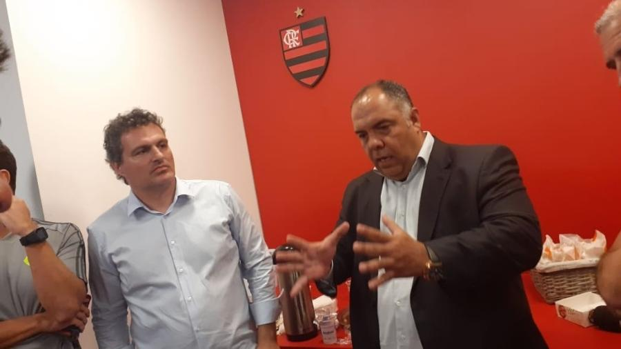 Bruno Spindel, diretor-executivo de Futebol do Flamengo, e Marcos Braz, vice de Futebol do Flamengo - Leo Burlá