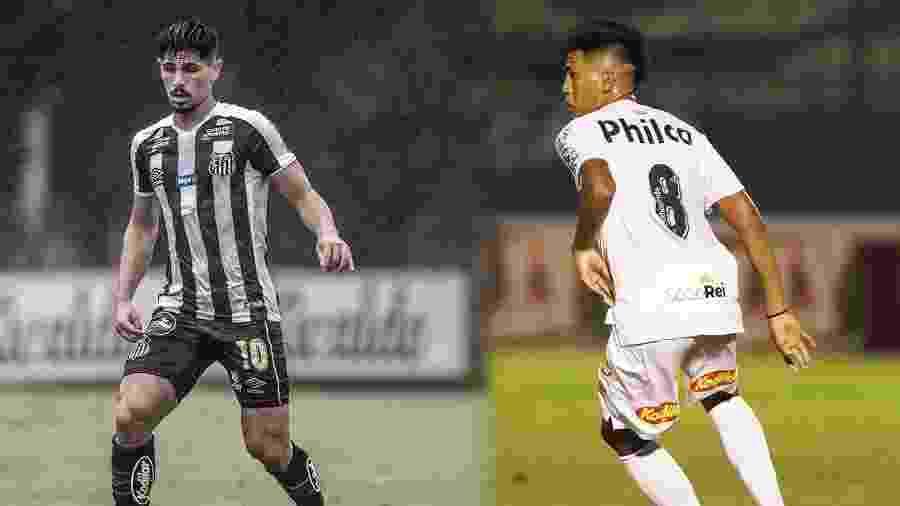 Anderson Ceará (esq.) e Ivonei (dir.) foram recentemente inscritos pelo Santos no Paulistão - Ivan Storti e Pedro Ernesto Guerra Azevedo/Santos FC