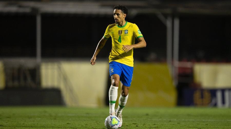 O zagueiro da seleção brasileira Marquinhos em partida contra a Venezuela, em 13/10 - Lucas Figueiredo/CBF