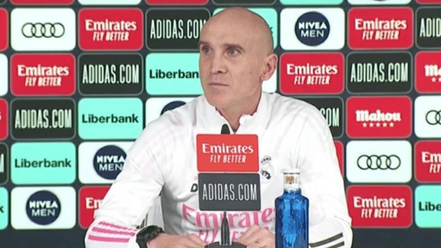 David Bettoni substituiu francês, infectado com covid-19, na entrevista coletiva do Real Madrid - Reprodução