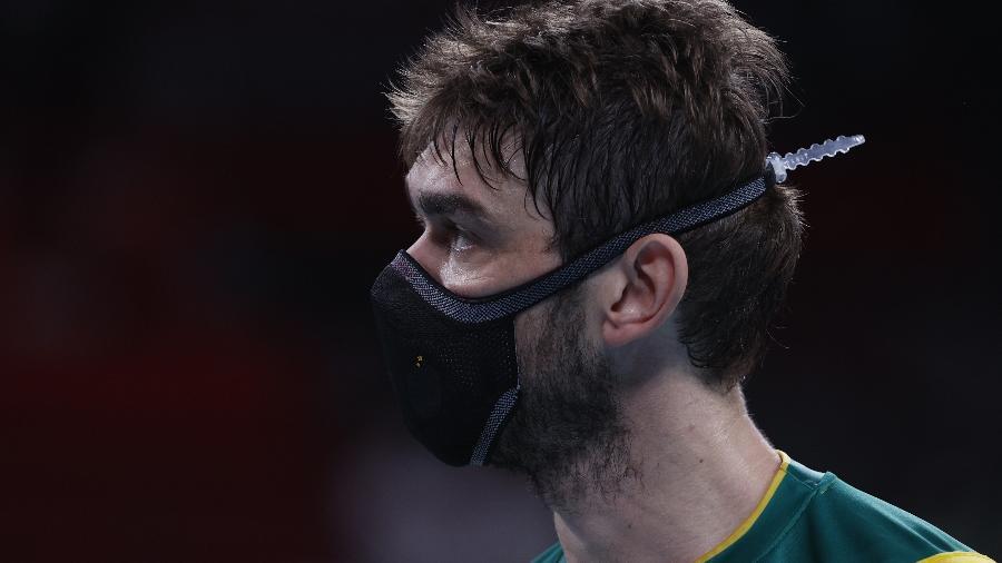 Lucão, jogador da seleção brasileira masculina de vôlei, nas Olimpíadas de Tóquio - REUTERS