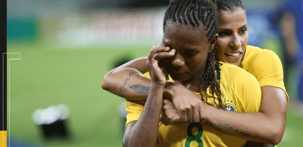 Formiga se emociona depois de jogo da seleção brasileira feminina - Arte/UOL