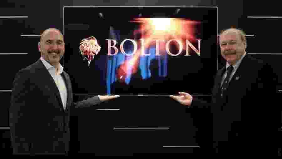 Roberto Diomedi, do Bolton Holding Group, e José Carlos Peres, presidente do Santos, em março - Reprodução/LinkedIn