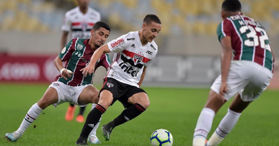 Antony, jogador do São Paulo, durante partida contra o Fluminense pelo Campeonato Brasileiro