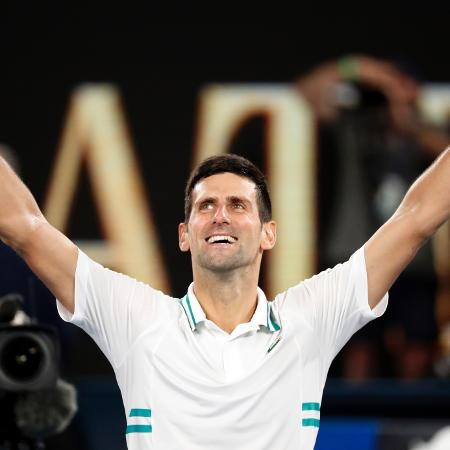 Novak Djokovic comemora o título do Australian Open de 2021 - Reuters